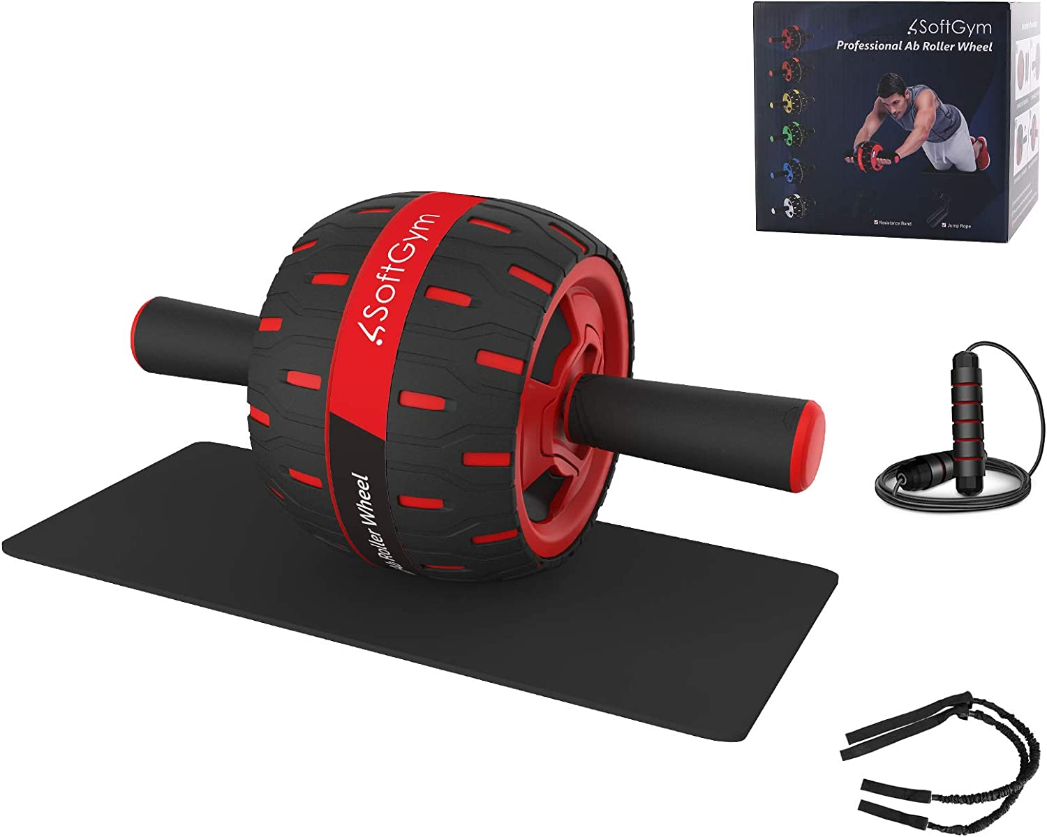 Premium Ab Wheel Roller Details about  /NEW Ab Roller Wheel with Knee Mat and Jump Rope