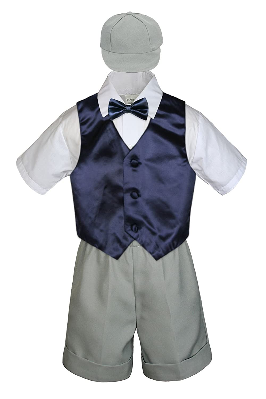 2T Leadertux 5pc Baby Toddler Boys Navy Blue Vest Bow Silver Shorts Suits Cap S-4T