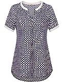 Bebonnie Women's Henley V Neck Short Sleeve Summer Casual A-Line Tunic Top Shirts