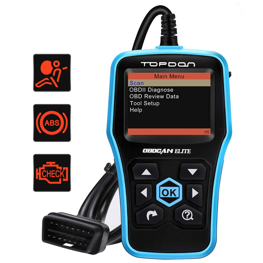 TOPDON Elite OBD2 Scanner ABS/SRS Diagnostic Tool for Full OBD2 Functions and ABS/SRS Warning Light Turn-off with Built-in DTC Lookup