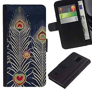 iKiki Tech / Cartera Funda Carcasa - Navy Bluer Feather Art Drawing - Samsung Galaxy Note 4 SM-N910F SM-N910K SM-N910C SM-N910W8 SM-N910U SM-N910