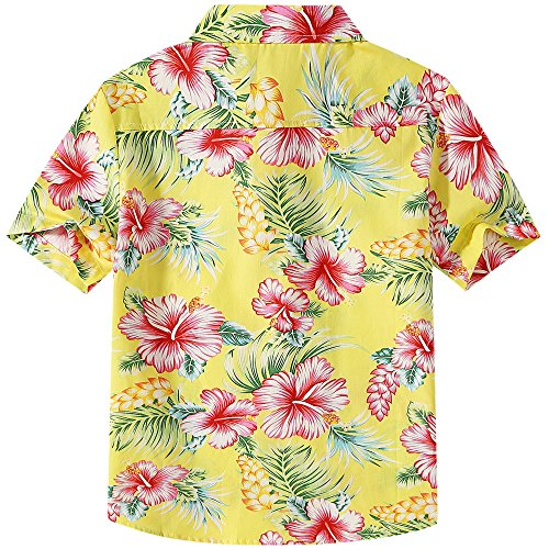 SSLR Big Boy's Hibiscus Cotton Short Sleeve Casual Button Down Hawaiian Shirt (X-Large(18-20), Bright Yellow) by SSLR (Image #2)
