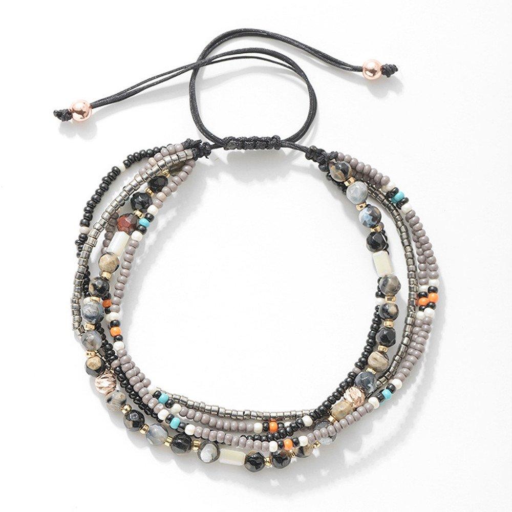 Joya Gift Adjustable Wrap Bracelet Bohemian Braided Beads Summer Beach Anklet for Women Girls