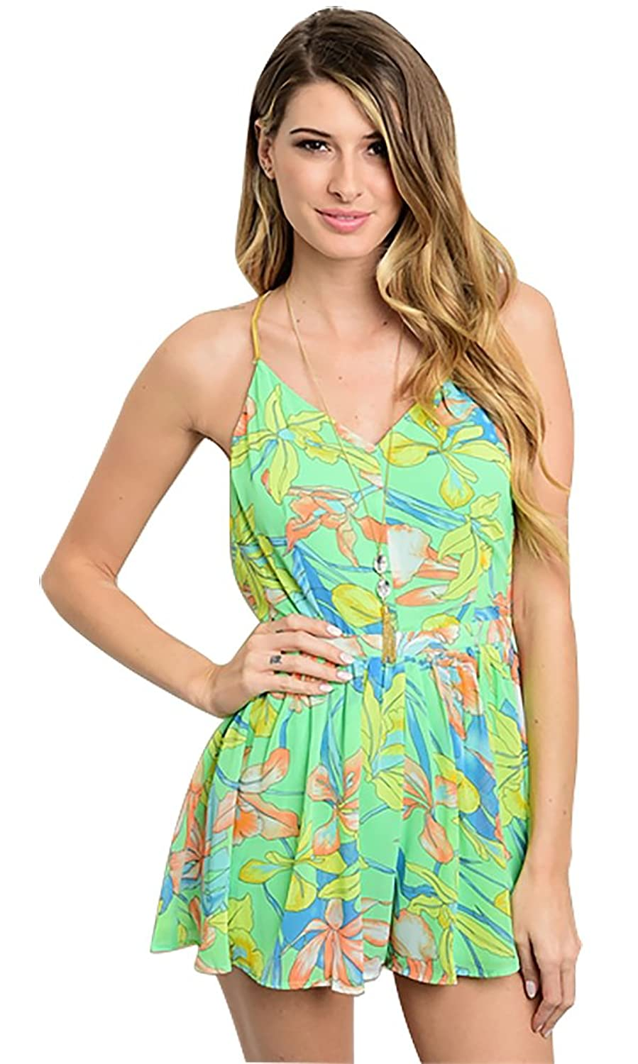 The Clothing Company Women's Open Back Flower Print Pleated Romper