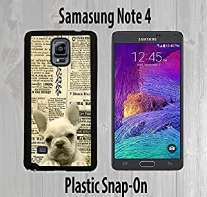 Cute French Bulldog Old Newspaper Custom made Case/Cover/skin FOR Samsung Galaxy Note 4 -Black- Plastic Snap On Case ( Ship From CA)