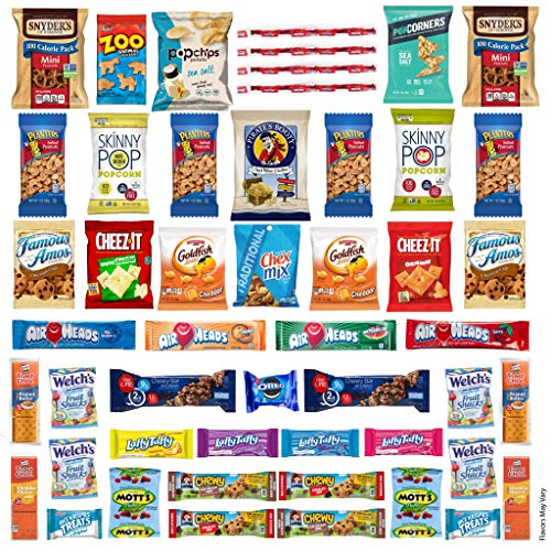 Snack Box Variety Pack Care Package (50 Count) Halloween Trick or Treat Candies Gift Basket – College Student Crave Food…