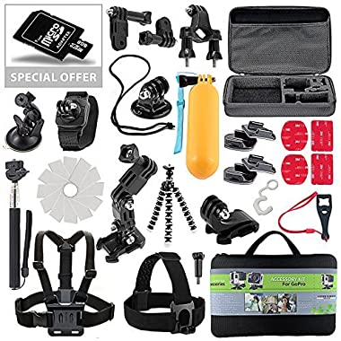 Action Camera Bundle Kit Fits Gopro Accessories Hero 4-3-2-1 31-Piece Extreme Case accessoris with 8GB SD Memory Card