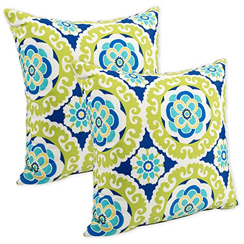 Floral Green Print (Halina Wasabi Floral Lime Green and Dark Blue Print 16 x 16 Indoor Outdoor Throw Pillow - Pack of 2)