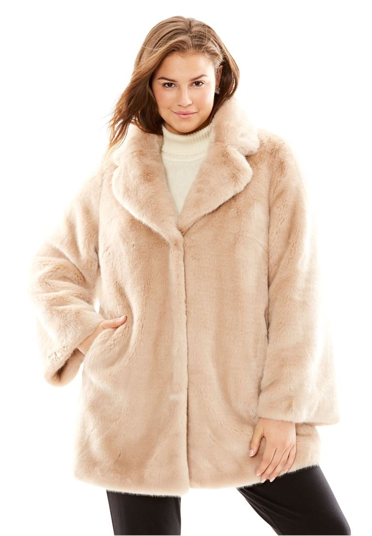 Women's Plus Size Fabulous Furs Notch Collar Mink Coat Blush,L
