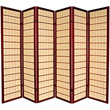 Oriental Furniture 6 ft. Tall Kimura Shoji Screen - 6 Panel - Rosewood