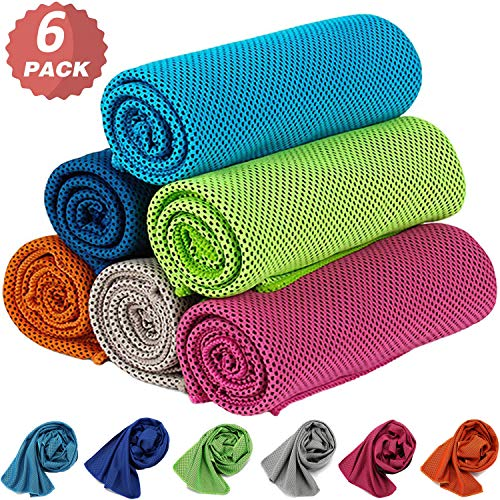 KEAFOLS Cooling Towel 6 Packs 40x12'' Chill Ice Sports Towel Neck Headband Bandana Scarf for Instant Relief Stay Cool with Cold Microfiber Cloth for Yoga,Golf,Gym Fitness&Summer Outdoor Work