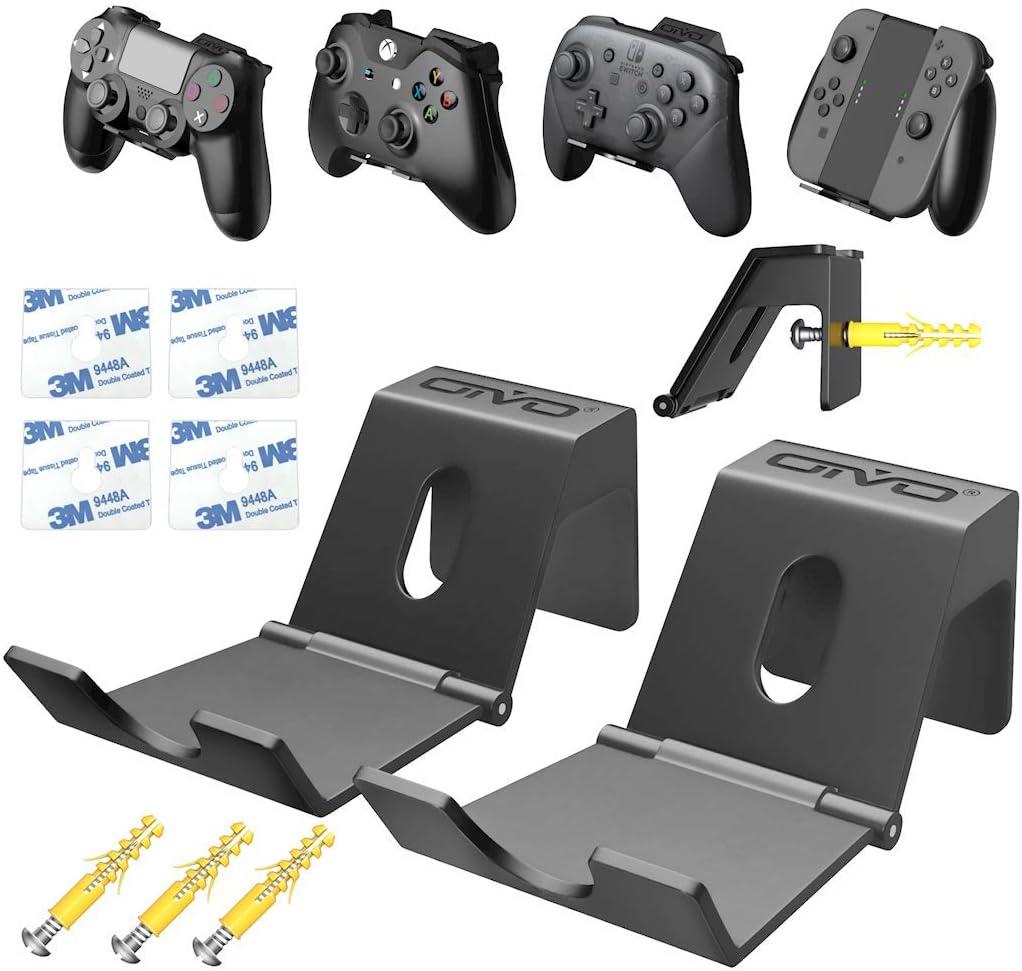 Soporte de Pared para Mando de PS4 / Xbox One/Nintendo Switch, Percha para Auriculares, Ganchos de Pared con diseño Plegable Pare Mandos Juegos, Gamepad, Cables - Conjunto de 2