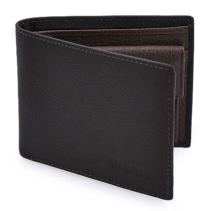 Newhey Cartera Hombre Cuero Billetera RFID Bloqueo Monedero Tarjetas Crédito Moda con Bolsillo Monedas Gris: Amazon.es: Equipaje