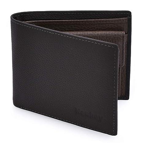 Newhey Cartera Hombre Cuero Billetera RFID Bloqueo Monedero Tarjetas Crédito Moda con Bolsillo Monedas Gris