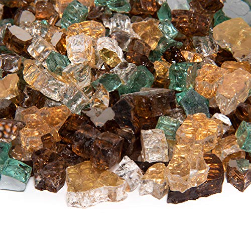 Irish Roast - Fire Glass Blend for Indoor and Outdoor Fire Pits or Fireplaces | 10 Pounds | 1/2 Inch, Reflective (Fire Logs Irish)