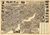 historic pictoric Connecticut Panoramic Map, Norwalk, c1899, 18x24in