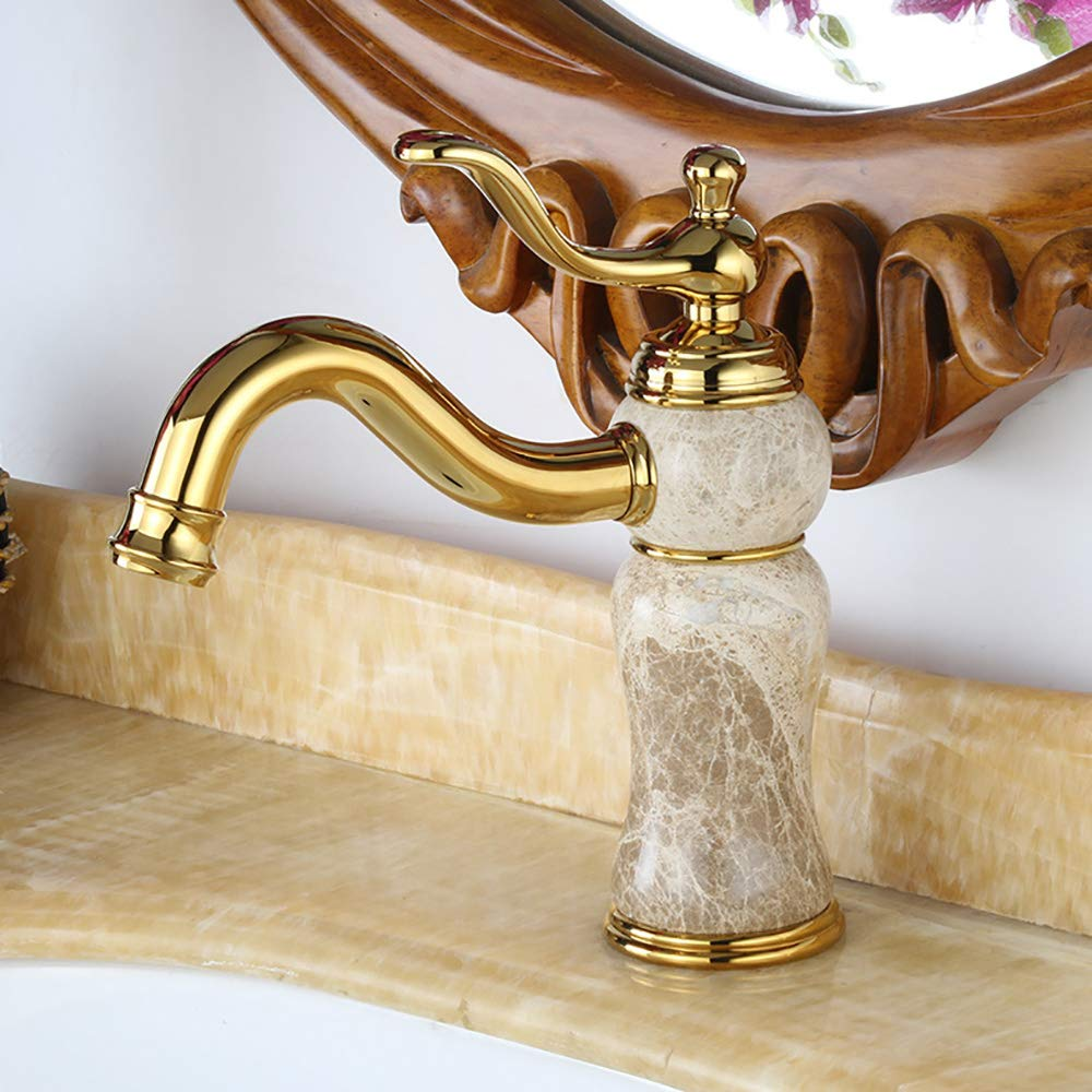 HUIJIN1 Single Handle Bathroom Sink Faucet,European Brass Commercial Waterfall Single Hole Hot And Cold Basin Mixer Deck Mount Bathroom Sink Faucet