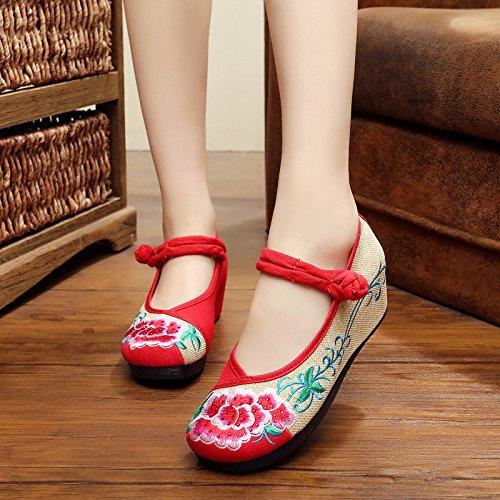 XHX Zapatos bordados, lino, lenguado, estilo étnico, zapatos femeninos, moda, cómodo, pendiente Aumentado Red