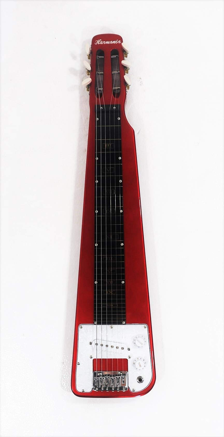 Lap Steel Guitar, 6 Steel String, Metallic Red Polish Body, w/a cable