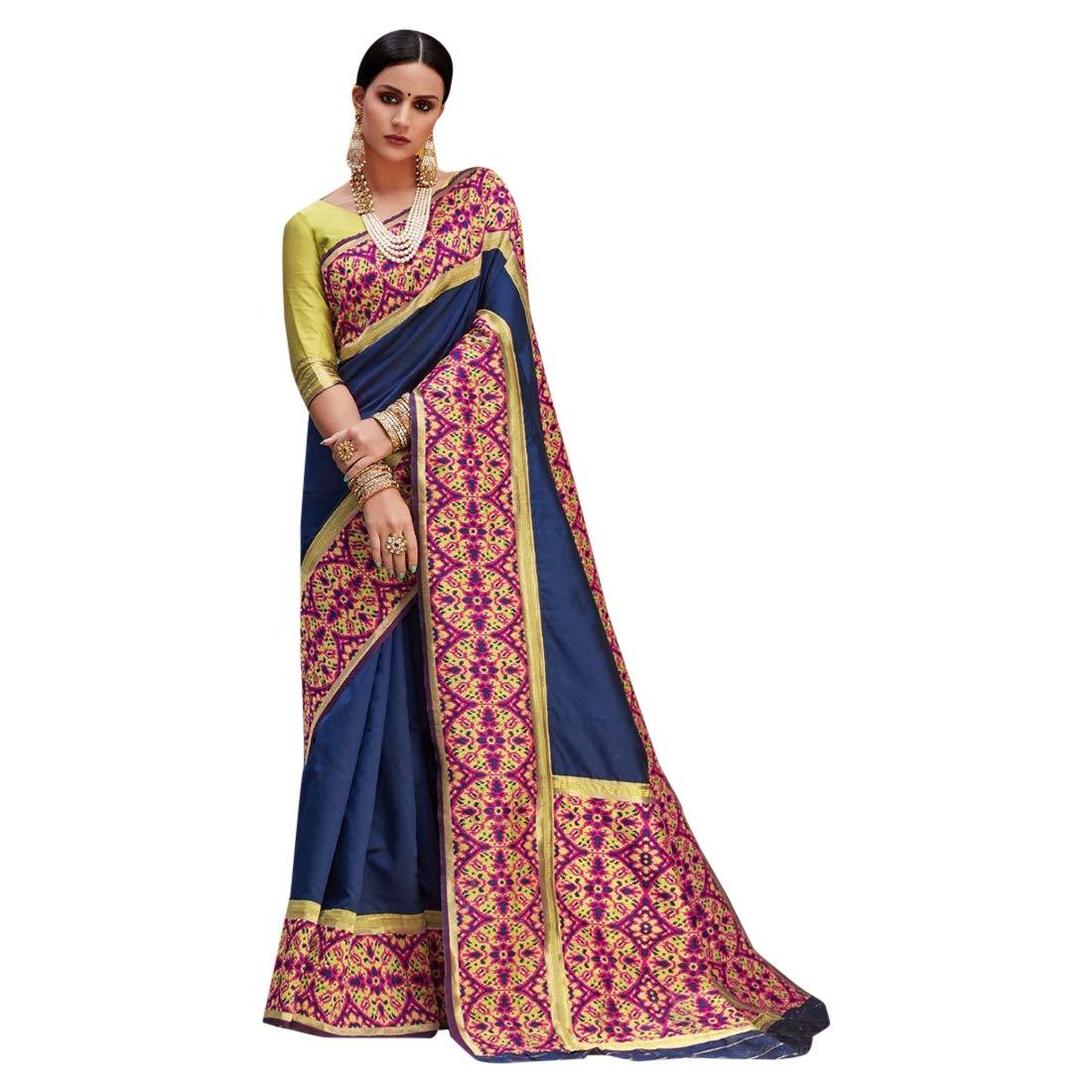 bluee Big Border Royal Look Saree Bollywood Designer Wear Sari 7495