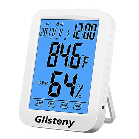 Termómetro digital higrómetro, GLISTENY Termómetro interior Indicador de humedad Pantalla táctil, reloj despertador,