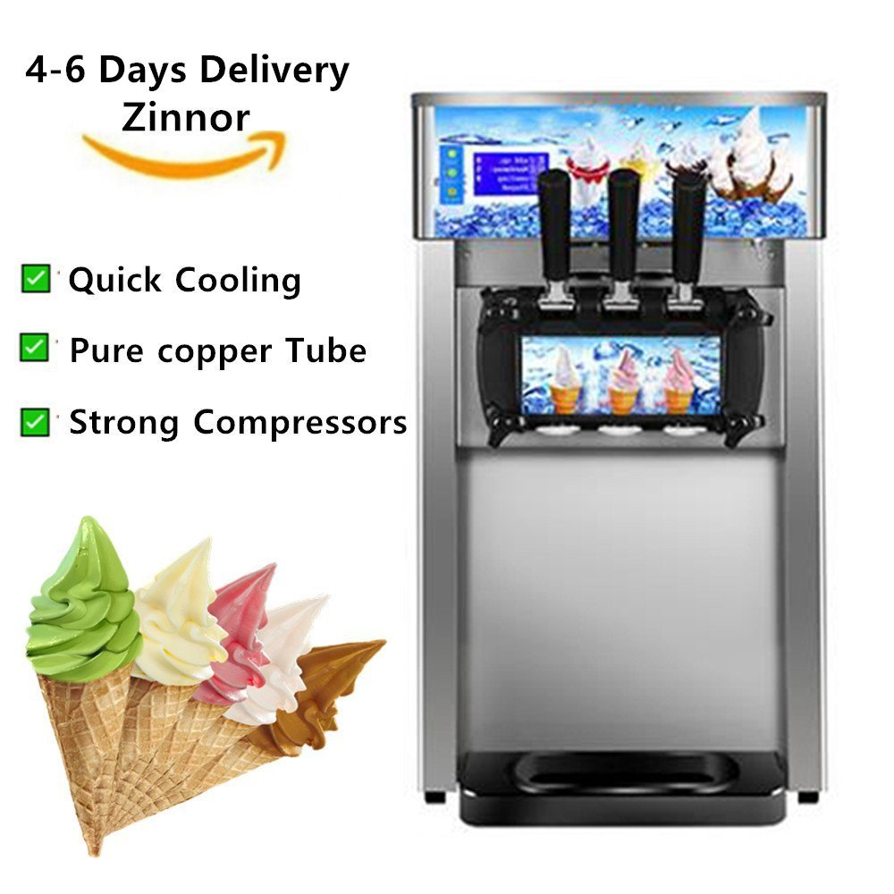 3 Flavor Commercial LCD Display Soft Ice Cream Low Power Machine 110V/60Hz/1200W