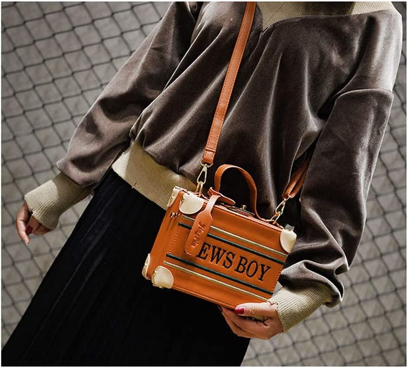 MING REN Shoulder Bag Retro Vintage Handbag Creative Small Box Portable Slung Brown Casual Small Square Bag PU 22X8X18cm Handbags for Women