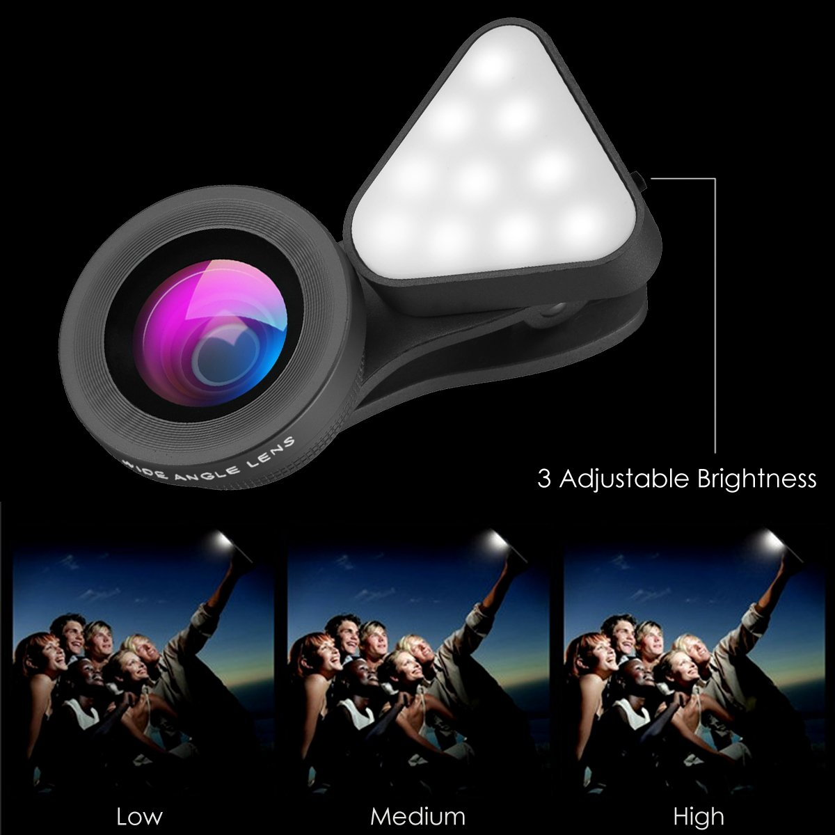 HD camera lens for iPhone 7//7 Plus//6s//6s Plus//6//5 15X Macro 0.4X-0.6X Wide Angle Lens Samsung /& Most Smartphones Wallfire 3 in 1 Cell Phone Lens with 3 Adjustable Brightness Fill Light