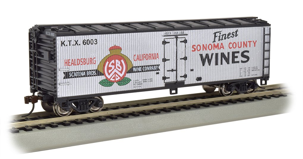 Bachmann Industries Wood Side Reefer Sonoma County Wines Freight Car, 40'