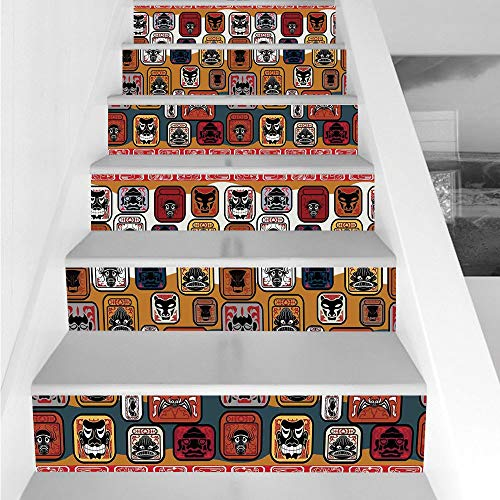 Pac Man Face (Stair Stickers Wall Stickers,6 PCS Self-Adhesive,Primitive,Native American Indian Maya Face Mask in Different Expressions Universal Totem,Multicolor,Stair Riser Decal for Living Room, Hall, Kids Room)