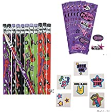 120 Girl ROCK STAR Party Favors - 24 Guitar Pencils 24 Sticker Sheets & 72 TATTOOS - DIVA Drama Queen - ROCK OUT - BIRTHDAY Parties