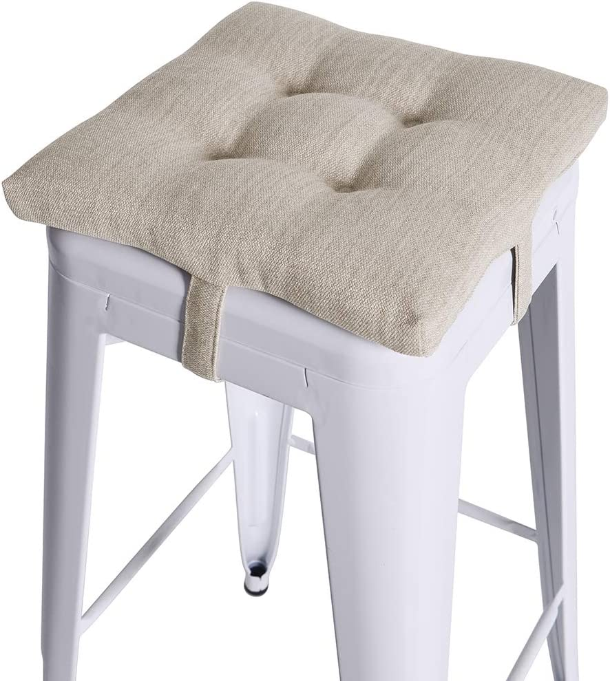 Baibu Square Seat Cushion Super Soft Bar Stool Square Seat Cushion With Ties One Pad Only Beige 12 30cm Kitchen Dining