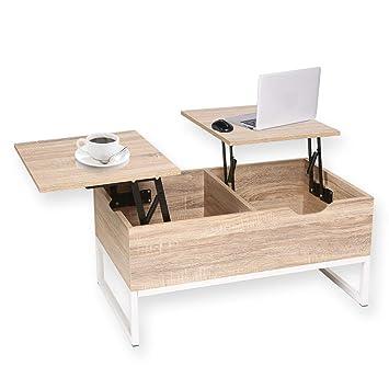 Genial Happy Home Table Basse Avec Plateau De Rangement Avec Rangement 2  Compartiments De Rangement Cachés