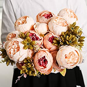 Ogrmar Vintage Artificial Peony Silk Flowers Bouquet for Home and Wedding Decoration 2