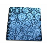 3dRose db_32493_1 Decorative Vintage Floral Wallpaper Blue Drawing Book, 8 by 8