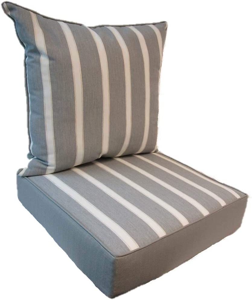 Suntastic Indoor//Outdoor Navy Textured Settee and Seat Cushion Set for Patio Furniture Set of 3 Backyard Cushions