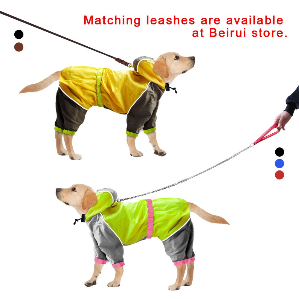 Reflective Waterproof Dog Raincoat - Lightweight and Breathable Hooded Rainwear for Medium Large Dogs - Green,31.5'' Back 35.5'' Chest for 2X-Large Dogs by Beirui (Image #3)