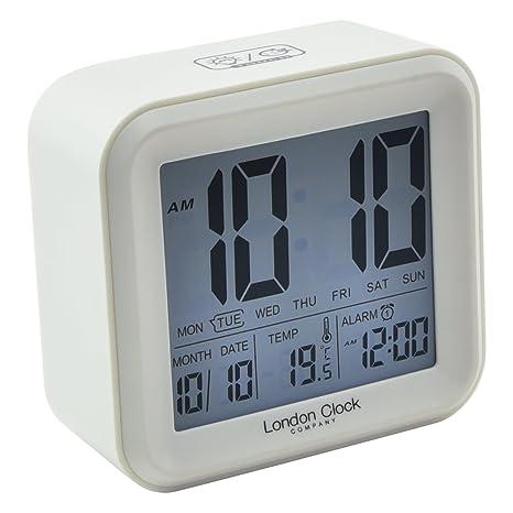 Reloj de Londres Cuadrado Blanco LCD Despertador, 11 x 11,5 x 5 cm