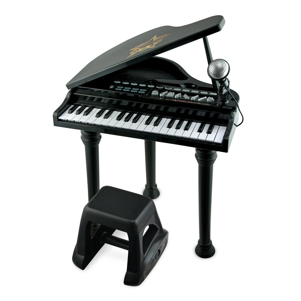 Electronic Grand Piano with Detachable Microphone and Electronically Tuned Keys