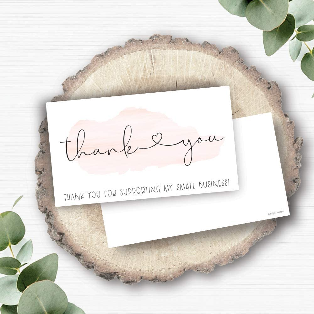 """Small Online Business Package Insert Thank You for Supporting My Small Business Customer Thank You for Order Cards 3.5/"""" x 2 50 Small Pink Watercolor"""
