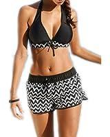 Eagsouni® Womens Bikini Top + Surfing Short Two Pieces Swimwear Swimsuit Set Plus Size Push Up Padded Bathing Suit