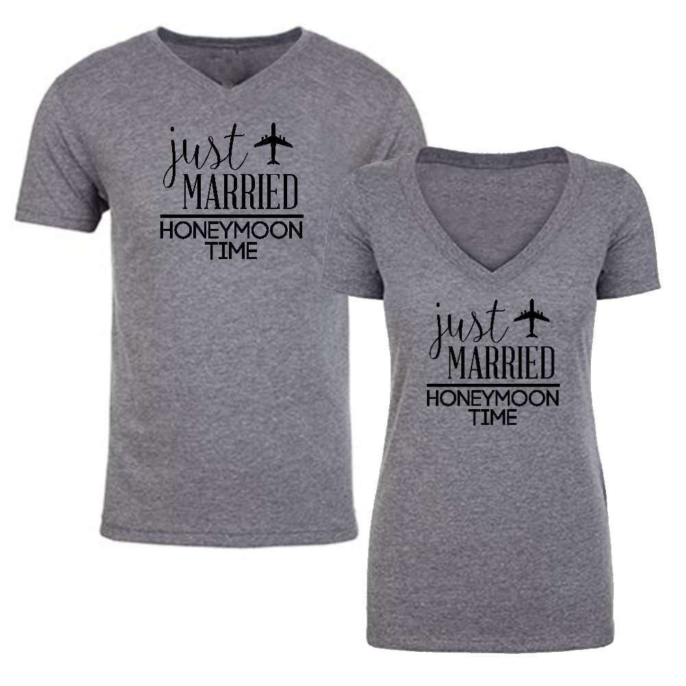 We Match!!!!!! - Couple Shirts - Just Married Honeymoon Time - Matching  Couples V-Neck Triblend T-Shirts Set
