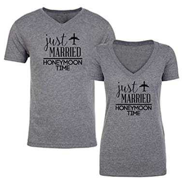 45a0f34bccf Couple Shirts - Just Married Honeymoon Time - Matching Couples V-Neck  Triblend T-Shirts Set: Clothing