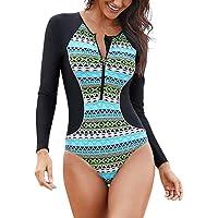 Inlefen Traje de neopreno de manga larga para mujer, protección UV, impresión, cremallera, traje de baño de una pieza, traje de baño