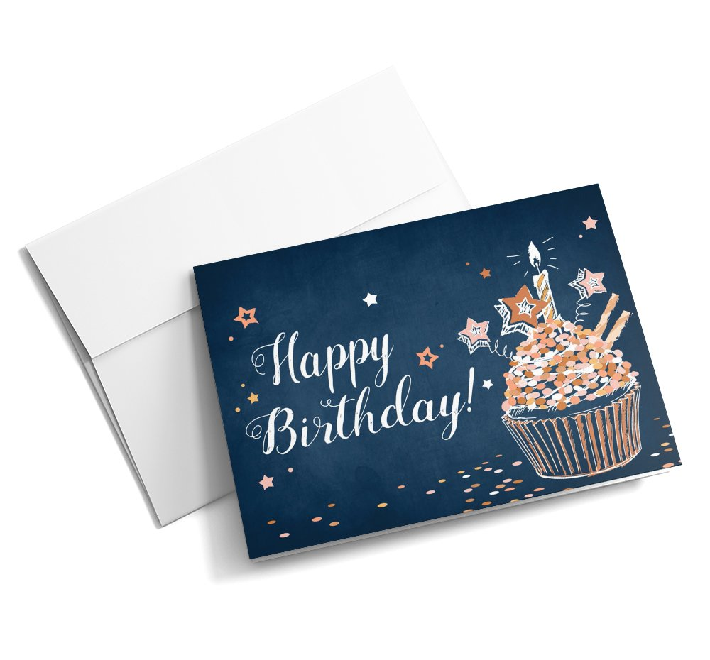 Cupcake Years - Birthday Cards | 25 Standard Greeting Cards with Your Custom Message and Envelopes | Printed in the USA