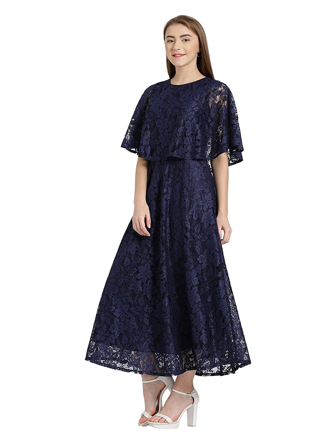 c11984fb5a Zink London Navy Cape Style Maxi Dress for Women (Small)  Amazon.in   Clothing   Accessories