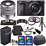 Sony Alpha a6000 Mirrorless Digital Camera with 16-50mm Lens (Black) + Sony SEL 1855 18-55mm Zoom Lens + 196GB Bundle 18 - International Version (No Warranty)