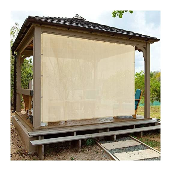 Alion Home Sun Shade Privacy Panel with Grommets on 4 Sides for Patio, Awning, Window Cover, Pergola or Gazebo - Banha Beige - DURABLE LOCK-STITCH KNITTED MATERIAL RESISTS TEARING & FRAYING - Shade Cover is lock-stitch knitted with 180+ GSM breathable High-Density Polyethylene (HDPE) material. Resists tearing and fraying. UV TREATED FABRIC AND UP TO 90% VISIBILITY BLOCKAGE - Shade cover is UV stabilized to resist fading & UV radiation, while retaining material strength, keeping the heat out from the sun and attractive outdoor privacy where you need it. BREATHABLE WATER-RESISTANT FABRIC - Allows fresh air passage & doesn't catch water, reducing temperatures underneath up to 25 degrees, perfect for D.I.Y. projects in the home, the garden or on the patios, pergolas, carports. - shades-parasols, patio-furniture, patio - 61R kGVuwbL. SS570  -