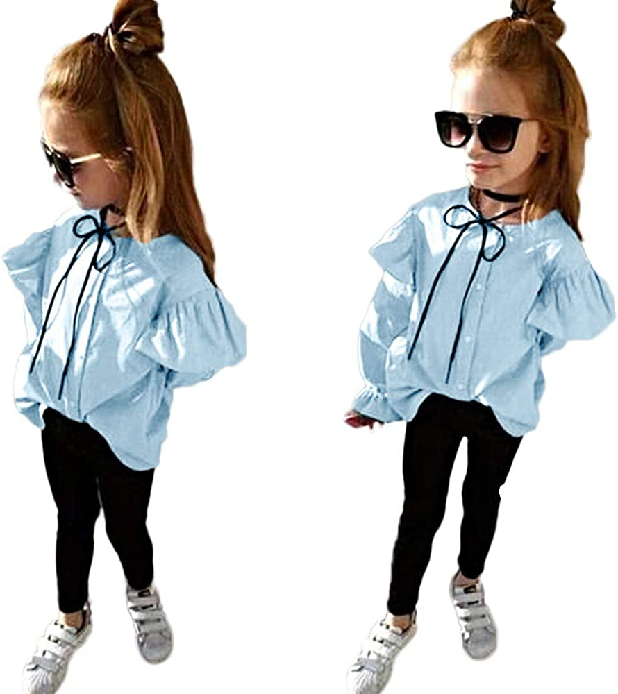 AMSKY❤ Baby Girl Clothes,Toddler Infant Baby Girls Solid Ruched Tops Solid Pants Outfits Clothes Set