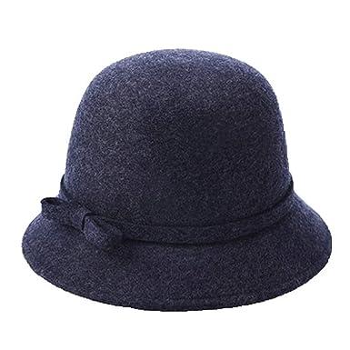 GOUNURE Fieltro de Lana Sombreros Fedora Bucket Cloche Hat para ...